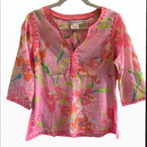 Gretchen Scott splitneck top, floral, pink, small